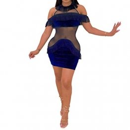 IyMoo Damen Minikleid mit kurzen Ärmeln, Samt, Neckholder, Schulter, Mesh-Netzstoff, durchsichtige Quasten, Party Clubwear - Blau - Mittel - 1