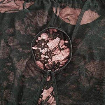 Keven Damen Babydoll Dessous mit Große Größen Sleepwear Body Bügel Nachthemd Spitze Lingerie (EU 44-46 / Tag XXL, Schwarz) - 5