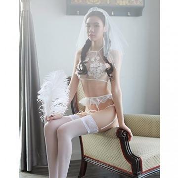 Liu Sensen Unterwäsche Für Frauen Sexy Jungfrau Erste Nacht Dessous Braut Schleier Pflege Tuch Hochzeit Nacht Weiße Spitze Carving Kleid Strumpfband Sets Mädchen Uniform BH Bikini Kostüme - 2
