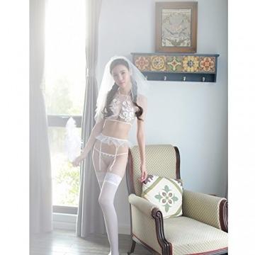 Liu Sensen Unterwäsche Für Frauen Sexy Jungfrau Erste Nacht Dessous Braut Schleier Pflege Tuch Hochzeit Nacht Weiße Spitze Carving Kleid Strumpfband Sets Mädchen Uniform BH Bikini Kostüme - 5
