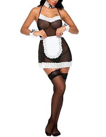 Lucyme Damen sexy Babydoll Cosplay Uniform Dienstmädchen Nachtwäsche Reizwäsche Kostüm Negligee Dessous- Gr .S, Schwarz - 2