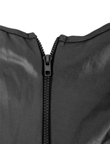 marysgift Damen Catsuit Leder Jumpsuit Overall Catwoman Kostüme Wetlook Sexy Dessous Ouvert Body Clubwear Größe 40 42 - 7