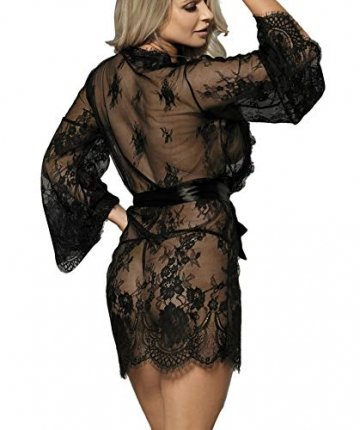 marysgift Damen Kimono Spitzen Robe Volant Langarm Transparent Weiter Ärmel Reizwäsche Nachtwäsche Morgenmantel Bademantel Dessous Set mit G-String Gürtel große größen 36 38 - 3
