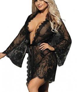 marysgift Damen Kimono Spitzen Robe Volant Langarm Transparent Weiter Ärmel Reizwäsche Nachtwäsche Morgenmantel Bademantel Dessous Set mit G-String Gürtel große größen 36 38 - 1