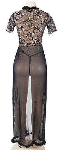 marysgift Damen Nachtkleid Sinnliche Damen Nachtwäsche Negligee Dessous Kostüm Hochzeit Cami Set Sexy Lange Erotik Bustier Seite Teilt Kleid Maxi Dress Vasual Babydoll Mesh Skirt - 5