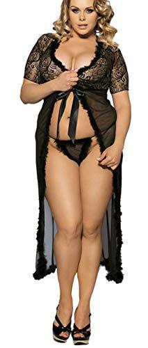 marysgift Damen Nachtkleid Sinnliche Damen Nachtwäsche Negligee Dessous Kostüm Hochzeit Cami Set Sexy Lange Erotik Bustier Seite Teilt Kleid Maxi Dress Vasual Babydoll Mesh Skirt - 1