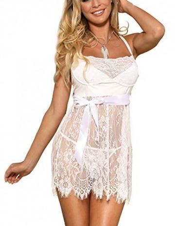 marysgift Damen Weiß Kleider Babydoll Lingerie Mesh Spitzen Nachtwäsche Dessous Set Sleepwear Dress Reizwäsche Negligee mit G-String Große Größen XL - 2