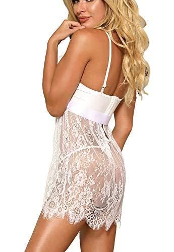 marysgift Damen Weiß Kleider Babydoll Lingerie Mesh Spitzen Nachtwäsche Dessous Set Sleepwear Dress Reizwäsche Negligee mit G-String Große Größen XL - 3