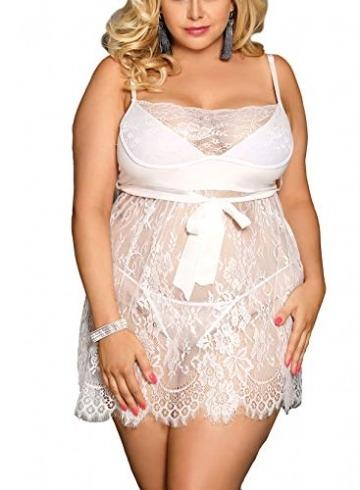 marysgift Damen Weiß Kleider Babydoll Lingerie Mesh Spitzen Nachtwäsche Dessous Set Sleepwear Dress Reizwäsche Negligee mit G-String Große Größen XL - 4