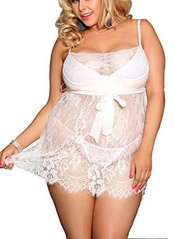 marysgift Damen Weiß Kleider Babydoll Lingerie Mesh Spitzen Nachtwäsche Dessous Set Sleepwear Dress Reizwäsche Negligee mit G-String Große Größen XL - 5