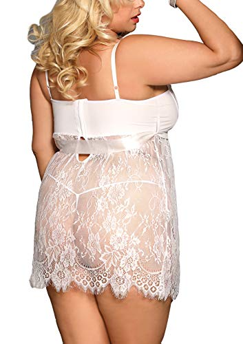 marysgift Damen Weiß Kleider Babydoll Lingerie Mesh Spitzen Nachtwäsche Dessous Set Sleepwear Dress Reizwäsche Negligee mit G-String Große Größen XL - 6