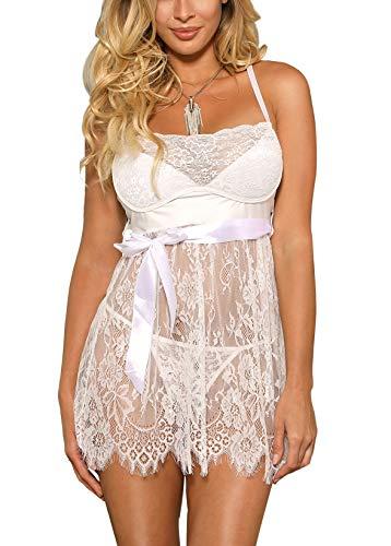 marysgift Damen Weiß Kleider Babydoll Lingerie Mesh Spitzen Nachtwäsche Dessous Set Sleepwear Dress Reizwäsche Negligee mit G-String Große Größen XL - 1