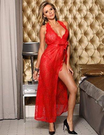 marysgift Spitze Morgenmantel Lang Negligee Damen Kleid Nachtkleid Reizwäsche Nachtwäsche Dessous Set für Damen mit G-String Rot M 34 36 - 2