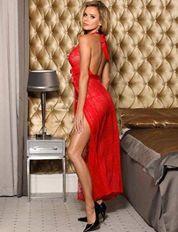 marysgift Spitze Morgenmantel Lang Negligee Damen Kleid Nachtkleid Reizwäsche Nachtwäsche Dessous Set für Damen mit G-String Rot M 34 36 - 3