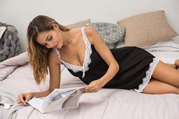 Meaneor_Fashion_Origin Sexy Negligee Nachtwäsche Nachthemd Spitze Lingerie Nachtkleid Babydoll Dessous Reizwäsche Sleepwear Kleid mit String für Damen Schwarz L - 5