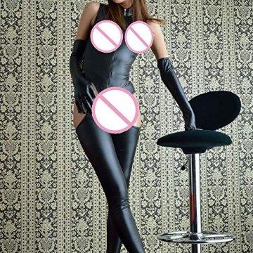 ODRD Damen Dessous Frauen Unterwäsche Sexy Jumpsuit Damen Leder Unterwäsche Reißverschluss Unterwäsche Pyjamas Sexy Body Nachtwäsche Erotik Lingerie Bodysuit Damenwäsche Babydoll - 3