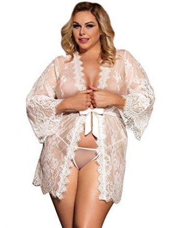 ohyeahlady Damen Kimono Spitzen Robe Volant Langarm Transparent Weiter Ärmel Reizwäsche Nachtwäsche MorgenmantelBademantelDessous Set mit G-String Gürtel - 4