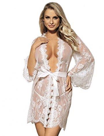 ohyeahlady Damen Kimono Spitzen Robe Volant Langarm Transparent Weiter Ärmel Reizwäsche Nachtwäsche MorgenmantelBademantelDessous Set mit G-String Gürtel - 1