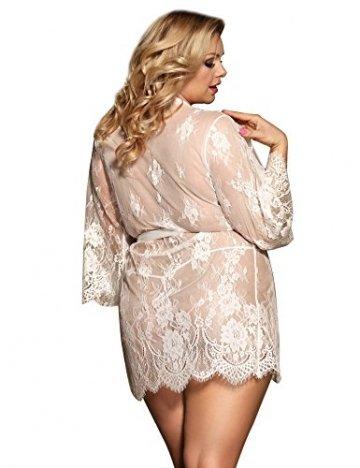 ohyeahlady Damen Kimono Spitzen Robe Volant Langarm Transparent Weiter Ärmel Reizwäsche Nachtwäsche MorgenmantelBademantelDessous Set mit G-String Gürtel - 5