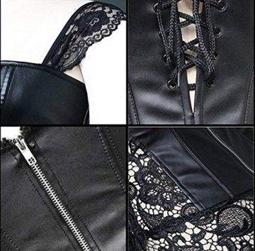 OUDIYA Leder Korsett Korsage Damen Vollbrust Faux Leder Corsagenkleid Sexy Dessous Korsett Übergrößen Schwarz Große S-3XL - 5