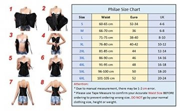 PhilaeEC Women's Plus Size Bridal Lingerie Lace up Satin Boned Corset + G-string (Black, L) - 4