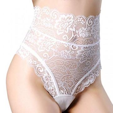 popiv Frauen Damen Lace String Slips Höschen Tangas Dessous Unterwäsche Slips (Weiß, Medium) - 1