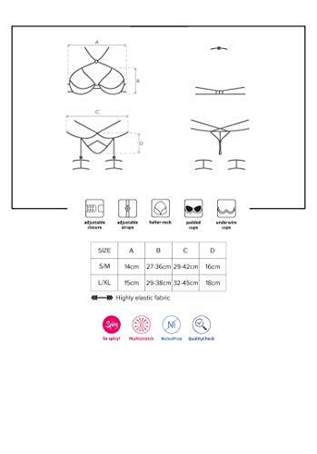 Selente Love & Fun verführerisches 5-teiliges Damen Dessous-Set aus BH, Armbändern, StrapsgürtelTanga & Satin-Augenbinde Made in EU (S/M, schwarz-Nieten) - 3