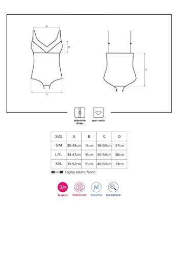 Selente verführerisches 2-teiliges Damen Dessous-Set mit Ouvert-/Body und exklusiver Satin-Augenbinde Made in EU, schwarz-Ouvert, Gr. L/XL - 4