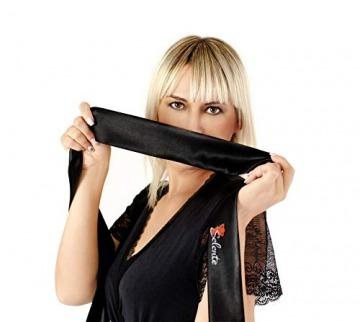Selente verführerisches 4-teiliges Damen Dessous-Set aus BH, Strapsgürtel, Tanga & exklusiver Satin-Augenbinde Made in EU, schwarz-Zirkonia, Gr. S/M - 4