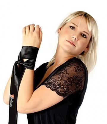 Selente verführerisches 4-teiliges Damen Dessous-Set aus BH, Strapsgürtel, Tanga & exklusiver Satin-Augenbinde Made in EU, schwarz-Zirkonia, Gr. S/M - 5