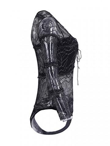 Simplee Apparel Damen Bodysuit Sexy Langarm V-Ausschnitt Lace up Spitze Transparent Bodysuit Langarmshirts Oberteile Schwarz - 5