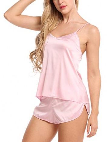 Skine Damen Schlafanzüge Satin Kurz Sexy Wäsche Nachtwäsche Solid Pyjamas Sets Chemises Cami Top & Shorts Verstellbarer Träger 2 Stück - 3