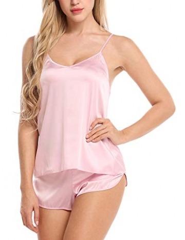 Skine Damen Schlafanzüge Satin Kurz Sexy Wäsche Nachtwäsche Solid Pyjamas Sets Chemises Cami Top & Shorts Verstellbarer Träger 2 Stück - 1