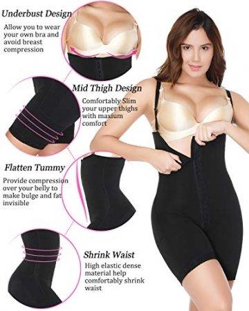SLIMBELLE Damen Shapewear Figurformender Formende Body Taillenformer Shaper Shaping Bodysuit Mit Haken Bauch Weg Effekt Unterwsche Miederbody Stark Formend-L - 3