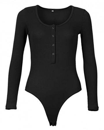Smile Fish Damen Langarm Body mit U-Neck Sexy Streifen Frauen Metall Knopf Langarm Jumpsuit Bodysuit (Schwarz, Small) - 2