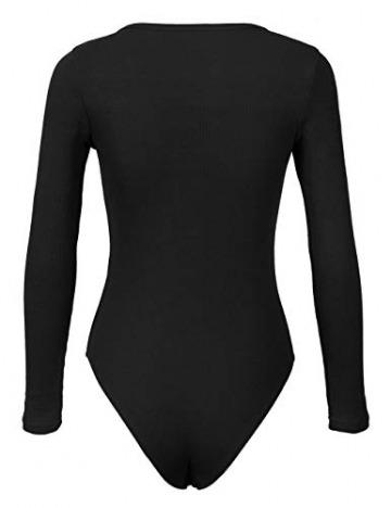 Smile Fish Damen Langarm Body mit U-Neck Sexy Streifen Frauen Metall Knopf Langarm Jumpsuit Bodysuit (Schwarz, Small) - 3