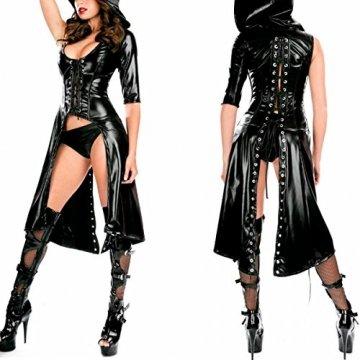 SSScok Neu Leder Body Babydoll Wetlook Dessous für Clubwear Nachtwäsche - 3
