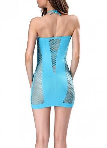 SWEETXIN Damen Netz-Nachthemd, sexy Dessous, Babydoll, Netzstoff, Nachthemd, Minikleid - Blau - Einheitsgröße - 2