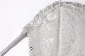 UTOVME Frauen Damen Korsett Mieder Corsage Dessous Bridal Wäsche schnürt Sich Oben Satin ohne Knochen Korsett mit G-Schnur Weiss 2XL - 6