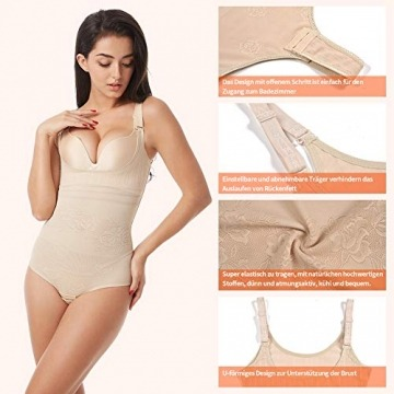 Wirezoll Damen Shapewear, Figurformender Body Bauch Weg Bodysuit mit Haken, Schwarz+beige, M - 3
