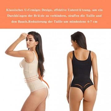 Wirezoll Damen Shapewear, Figurformender Body Bauch Weg Bodysuit mit Haken, Schwarz+beige, M - 4