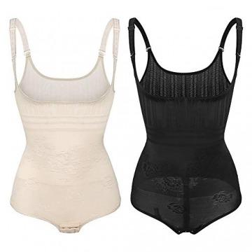 Wirezoll Damen Shapewear, Figurformender Body Bauch Weg Bodysuit mit Haken, Schwarz+beige, M - 6