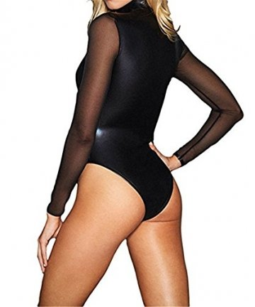 Wonder Pretty Damen Leder Bodysuit Halloween Kostüme Wetlook PVC Dessous Catsuit Mesh-Langarm Overall Total Clubwear - 2