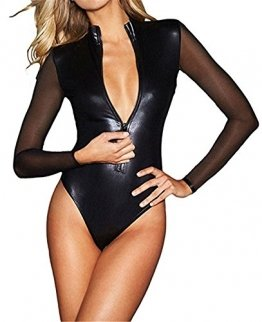 Wonder Pretty Damen Leder Bodysuit Halloween Kostüme Wetlook PVC Dessous Catsuit Mesh-Langarm Overall Total Clubwear - 1