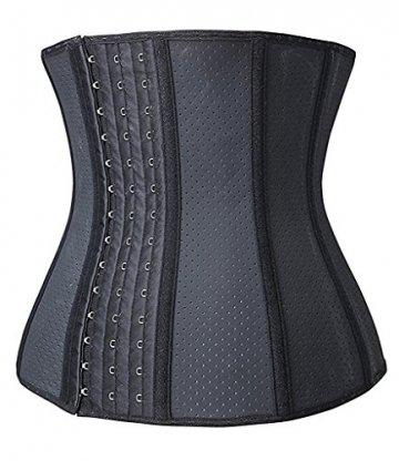 YIANNA Damen Unterbrust Korsett Schwarz Corsage Taillen Korsage mit Latex Atmungsaktiv Loch Taillenformer Bauchweg Shapewear,UK-YA10533-Black-XS - 2