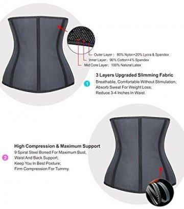 YIANNA Damen Unterbrust Korsett Schwarz Corsage Taillen Korsage mit Latex Atmungsaktiv Loch Taillenformer Bauchweg Shapewear,UK-YA10533-Black-XS - 3