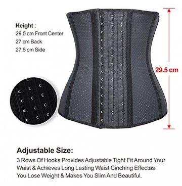 YIANNA Damen Unterbrust Korsett Schwarz Corsage Taillen Korsage mit Latex Atmungsaktiv Loch Taillenformer Bauchweg Shapewear,UK-YA10533-Black-XS - 4