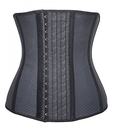 YIANNA Damen Unterbrust Korsett Schwarz Corsage Taillen Korsage mit Latex Atmungsaktiv Loch Taillenformer Bauchweg Shapewear,UK-YA10533-Black-XS - 1