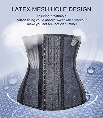YIANNA Damen Unterbrust Korsett Schwarz Corsage Taillen Korsage mit Latex Atmungsaktiv Loch Taillenformer Bauchweg Shapewear,UK-YA10533-Black-XS - 5