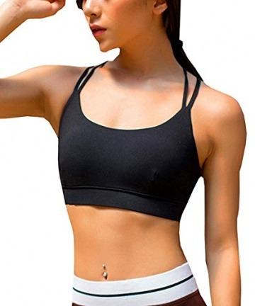 YIANNA Damen Yoga Sport BH ohne Bügel Nahtlos Sports Bra Crop Top Fitness Elastizität Bustier Schwarz mit Abnehmbare Gepolstert,UK-YA-BRA139-Black-XL - 2